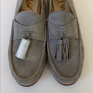Sam Edelman Therese Grey Suede Tassle Loafers